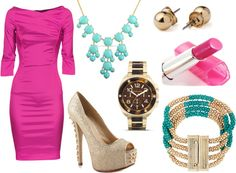 """Pink & Turquoise"" by refinedandpolished on Polyvore"