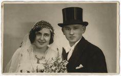Wedding portrait of Dora Ksias and Usher Teitelbaum.
