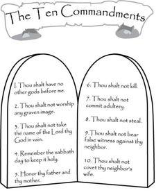 10 commandments color sheet … | Pinteres…