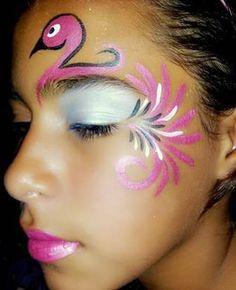Bildergebnis für flamingo makeup - Famous Last Words Face Painting Images, Adult Face Painting, Face Painting Designs, Painting For Kids, Body Painting, Flamingo Costume, Bird Costume, Flamingo Face Paint, Mermaid Face Paint
