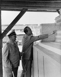 Albert Speer (1905-1981), Adolf Hitler's favoured architect, pointing out details of an architectural model for Reichsmarschall ministry to Hermann Goering (1893-1946).