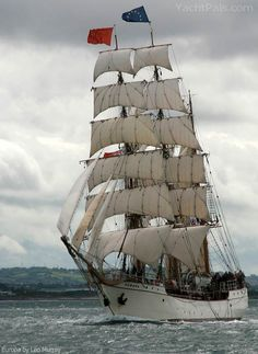 "The barque ""Europa"", the Netherlands, with a very complete sailplan, rarely seen on today's square-riggers."