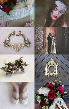 Vintage French Red Green Gold Wedding by Emily from Sitting Pretty Papers --Pinned with TreasuryPin.com
