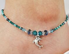 Anklet Ankle Bracelet Metallic Blue Anklet by ABeadApartJewelry