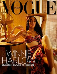 Captured by photographer Billy Kidd, Canadian model Winnie Harlow wears a Tarun Tahiliani dress on the cover of Vogue India's March 2020 issue. In the cover.