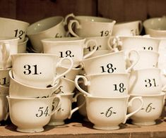 Numbered tea cups--love the variety of number styles
