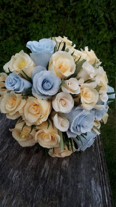 BRIDAL Ivory BLUE WEDDING Bouquet cpepe paper by moniaflowers