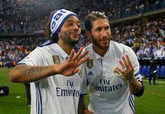 Marcelo & Sergio Ramos qui célèbrent le 33ème titre du real Madrid en Liga : Malaga - Real Madrid CF 21/05/2017.