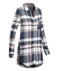 Take a look at this Light Pink & Navy Plaid Pocket Shirt Dress today!