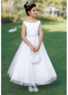 66.99 White Bateau A-line Short Sleeve Zipper Up Flower Girl Dress With Beading – Dressdo.com
