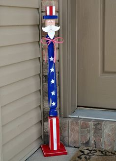 Table Leg Uncle Sam (tutorial), Patriotic of July Crafts - Crafting For The Holiday Patriotic Crafts, July Crafts, Summer Crafts, Holiday Crafts, Holiday Ideas, Summer Fun, Patriotic Wreath, 4. Juli Party, 4th Of July Party