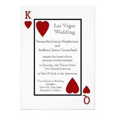 Red Playing Card King/Queen Casino Chapel Las Vegas Wedding Invitations