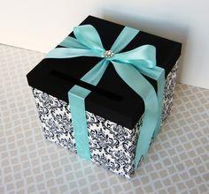 Wedding Card Box Damask Black White Tiffany Blue Money Holder Custom Made ANY Color and Combination. $59.00, via Etsy.
