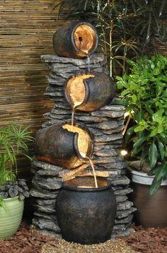 4 Pots On Rock Fountain Water Feature Rocks+Gardens+Water+Fountain