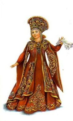 """Russian traditional costume, stylization for the stage. A postcard from the set """"Russian Stage Costume"""", 2005. #art #folk #Russian #costume"""