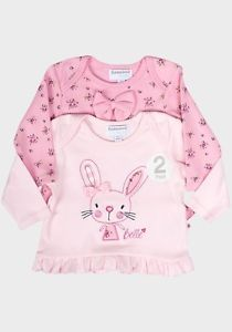 Babaluno Cotton Baby Girls 2 pack Long Sleeve Pink Tops Tshirt 0 3 6 9 12 Month