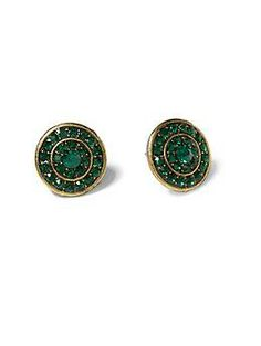 Sabine Emerald Green Pavé Stud Earring | Piperlime
