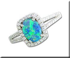 14K White Gold Australian Opal/Diamond Ring