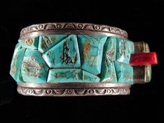 Cripple Creek Turquoise and Sterling cuff Bracelet by Ken Kirkbride(Colorado Jewelrydude) made for David Graham of Bad Boys Turquoise.