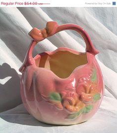 Hull Art Pottery Basket with Handle Sun Glow..