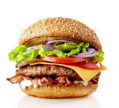 Buy fresh tasty burger by magone on PhotoDune. fresh tasty burger isolated on white background Juicy Hamburger Recipe, Hamburger Recipes, Comida Pizza, Delicious Burgers, Tasty Burger, Big Burgers, Deco Restaurant, Grilled Beef, Burger And Fries