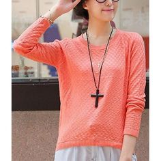 Casual Round Neck Long Sleeve Solid Color Loose-Fitting Women's Knitwear