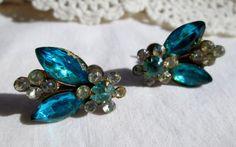 Aqua and Clear Rhinestone Fly Bug Bee Earrings by WeeLambieVintage, $12.00