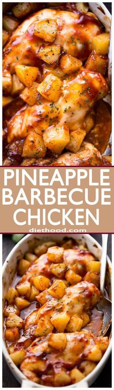 Pineapple Barbecue Chicken Youre only a few ingredients away from this amazing juicy and SO delicious meal prepared with chicken pineapples and barbecue sauce Git er don. Barbecue Chicken Recipes Easy, Bbq Chicken, Crockpot Hawaiian Chicken, Grilled Chicken, Healthy Meals With Chicken, Recipes With Chicken, Chicken Kebab, Pollo Chicken, Marinated Chicken Recipes