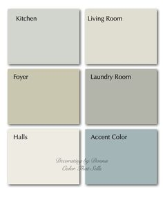 a beautiful coastal color palette with gray-green, soft blue, sand. Live the white/cream
