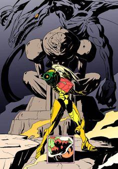 Samus, Chozo, Metroid, and Ridley Artist Unknown Metroid Samus, Metroid Prime, Samus Aran, Game Character, Character Design, Super Metroid, Fandom, Fan Art, Geek Art