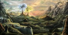 Valinor and The Two Trees of Valinor - Telperion and Laurelin