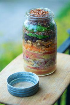 Healing Salad in a Jar With Roasted Garlic Vinaigrette