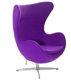 Arne Jacobsen Inspired Egg Chair Wool Purple. * UK stock! Free UK mainland delivery! * The egg chair is constructed of molded fibreglass, soft foam with hand stitched fabric. * High Quality Soft Cashmere/ Wool * The star base is made of aluminium mounted on a satin polished steel pedestal. * The chair has a tilt function and a swivel base. http://www.euromarks.co.uk/arne-jacobsen-inspired-egg-chair-wool-purple-479-p.asp