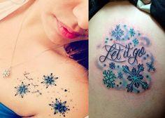 """idées tatouages inspirés du film Disney """"La Reine des neiges"""" - des flocons de neige et citation """"Let it go"""""""