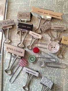 Teresa Collins - love these! Teresa Collins, Binder Clips, Paperclip Crafts, Paper Clip Art, Scrapbook Embellishments, Junk Journal, Craft Fairs, Altered Art, Cardmaking