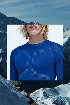 Bright blue base-layer shirt in fast-drying, functional fabric with contrasting panels. Seamless, machine wash warm. | H&M Sport