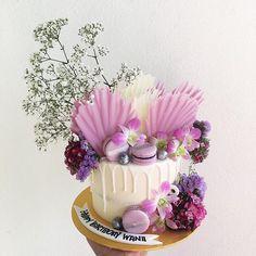 WEBSTA @ littlegoldjars - Floral coral in purple #littlegoldjars #dripcake #freshflowers
