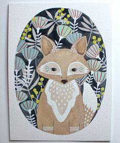 Fox Illustration Painting Watercolor Art  Archival door RiverLuna