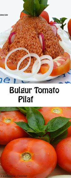 A simple delicious meal by itself that can be equally good as a side dish to accompany grilled meat or chicken  - it takes 30-35 minutes to be ready.  The bulgur will soak out the tomatoes, developing a delicious tasty pilaf. Red hot pepper adds a delightful zing to the dish