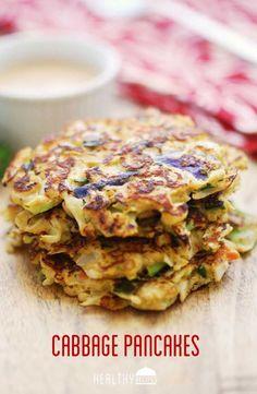 Cabbage Pancakes with Spicy Yogurt Soy Dipping Sauce  (low-carb interpretation of a classic Japanese dish, okonomiyaki)