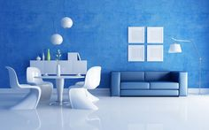 Living Room:Futuristic Blue Living Room Design Ideas With White Marble Floor And Blue Painted Wall Also Minimalist Blue Sofa And White Dining Sets Cool Blue Living Room Design for Your Home Interior