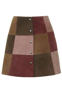 Suede Patchwork A-Line Skirt This is the skirt of my dreams. I am seriously considering breaking my no leather rule for this skirt.