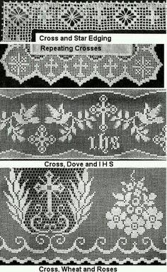 Risultati immagini per Lily altar filet crochet Crochet Curtain Pattern, Crochet Slipper Pattern, Crochet Lace Edging, Crochet Curtains, Crochet Cross, Crochet Slippers, Knit Crochet, Vintage Crochet Patterns, Lace Patterns