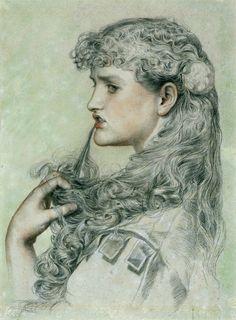 Frederick Sandys, Maisie la fière, 1868, crayon et sanguine sur papier vert, 43, 8 x 33,8 cm, Victoria and Albert Museum, Londres