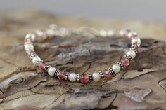 Pink Tourmaline, Freshwater Pearl and Bali Silver Polka Dot Bracelet: http://www.etsy.com/listing/91470771/pink-tourmaline-freshwater-pearl-and
