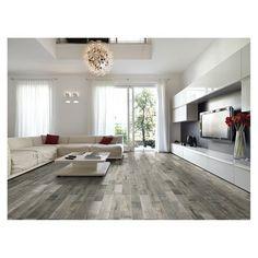 American Olean 6-in x 36-in Muirwood Evening Rain Glazed Porcelain Floor Tile