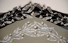 1910 a diamond and pearl mistletoe choker, backed with black velvet