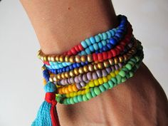 Gold Beaded Bracelet Tassel Jewelry Rainbow Seed Bead Metallic Beaded Jewelry Colorful Bracelets Fun Jewelry Gift Multicolor Beads / Sale!