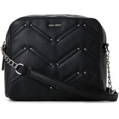 Nine West Black Weekend Pass Crossbody ($20) ❤ liked on Polyvore featuring bags, handbags, shoulder bags, black, leather crossbody purse, faux leather handbags, nine west purses, leather handbags and crossbody handbags