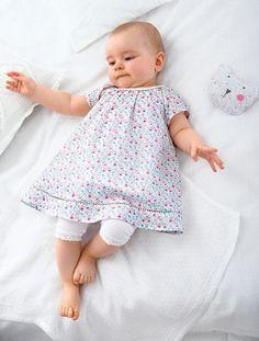 Ensemble robe et legging bébé Blanc imprimé - vertbaudet enfant